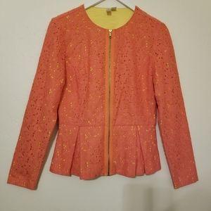 Coral Orange Lace Peplum Zip Blazer Jacket